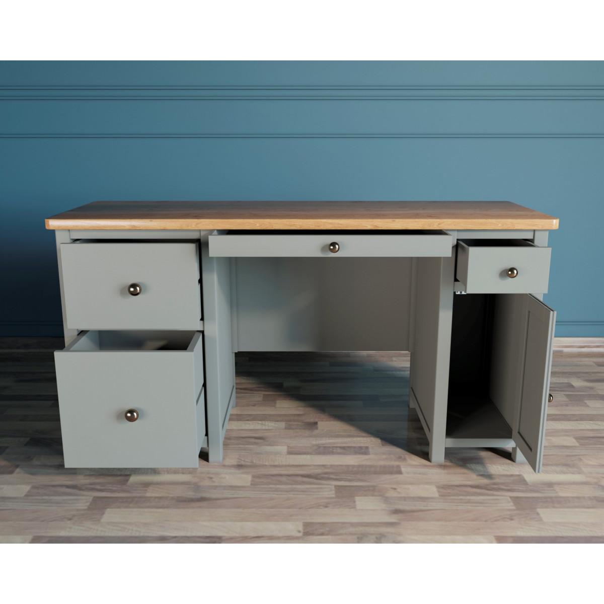 JV14ETG Кабинетный стол с узкой тумбой серый