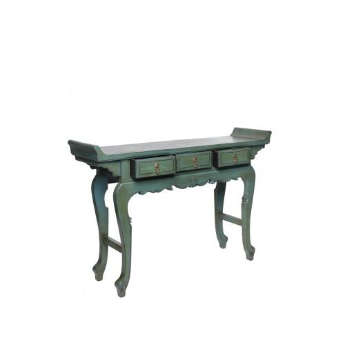 BF-20443 Цяотоуань -стол с задранными краями. Традиционная консоль для каллиграфии. Голубого цвета и гнутыми ножками. Интерпретация