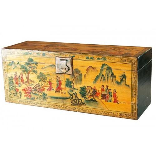 BF-20035 И-сян -традиционный платяной сундук с росписью пейзажными мотивами по желтому фону. Династия Ци
