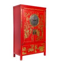 BF-20154 Гуй- традиционный шкаф, выполненный в красном цвете с росписью сусальным золотом.