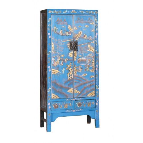 BF-21174 Гуй- традиционный шкаф, голубого цвета с росписью пейзажными мотивами. Династия Цин