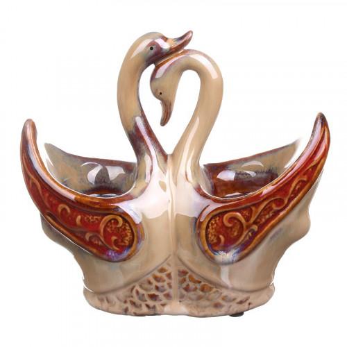 IU99-0028 Подсвечник керамический (лебеди)