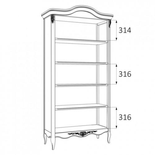 R137-K02-A Книжный шкаф коллекция Romantic