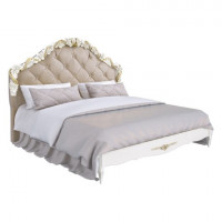 R418g Кровать с мягким изголовьем и золочением коллекция Romantic Gold