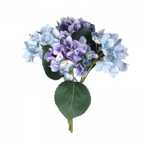 FL99-0054 Искусственный цветок Гортензия (букет) голубая+фиолетовая 30 см (отгружается по 12 шт)