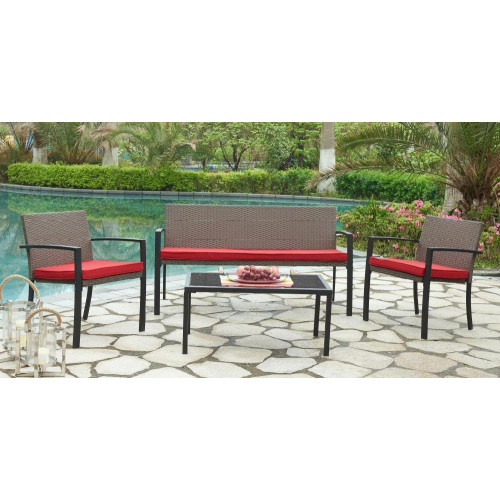 Комплект с 3-х местным диваном, 210156, подушки - красного цвета