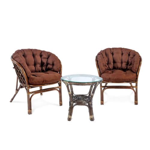 Комплект кофейный БАГАМА S-1 (стол+2 кресла, подушка твил)