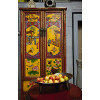 BF-20025 Гуй, одноуровневый китайский платяной шкаф, с пейзажной росписью. Династия Цин